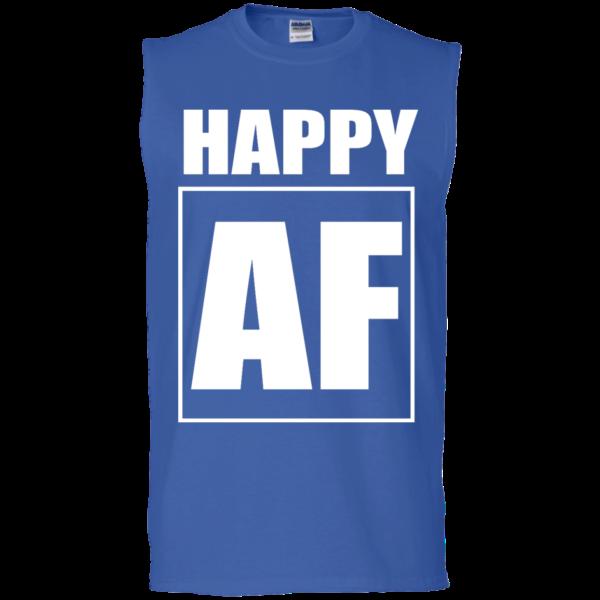 Happy AF – Guys Sleeveless Stylish Fitness Muscle T-shirt